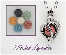 Swirled Heart Aromatherapy Essential Oil Necklace Diffuser with 6 lava stones!