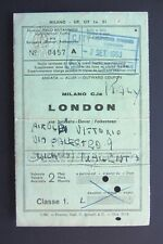 Biglietto treno train ticket MILANO LONDON via Svizzera 1963 classe 1