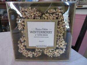 "RESTORATION HARDWARE SET OF4 FESTIVE WHITE WINTERBERRY 4"" TAPER RINGS  NIB"