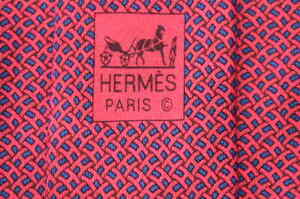 Men's Authentic Hermes Paris 605837 IA Red Silk Neck Tie made in France