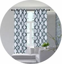 1 SET SUN BLOCKING MOROCCAN PATTERN WINDOW CURTAIN LINED GROMMET PANEL HUNTER
