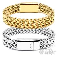 Herren Armband Edelstahl Fuchsschwanz silber gold 18k vergoldet Magnetverschluss