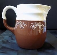 Authentic Stoneware Vintage Style Creamer Pitcher Brown Floral 4 1/2 inches tall