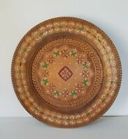 "Vintage Carved Wooden Decorative PlateHand Painted 12"" Oval"