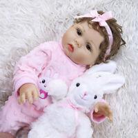 "18"" Handmade Lifelike Full Body Silicone Girl Doll Reborn Babies Dolls Xmas Gift"