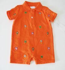 Ralph Lauren Baby Boys Schiffli Embroidered Shortall Bright Orange Sz 3M - NWT