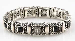 Scott Kay 925 Silver Ladies Equestrian Bracelet w/ Faceted Onyx & Diamond Clasp