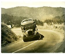 Large 1930s Photo of Peerless Stage Special Bus Climbing a Hill