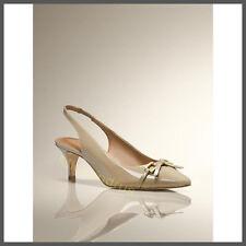 NIB Talbots Patent Leather Dayla Bow & Link Slingback Pump Khaki Size 7M