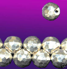 Vintage Round Silver Faceted Glass Bead Buttons 9mm