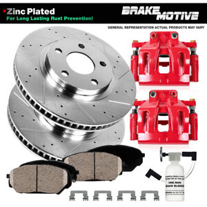For Volvo C30 S40 Front Red Brake Calipers And Drilled Slotted Rotors and Pads