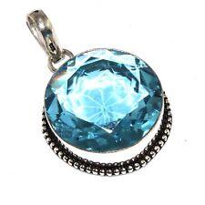 """Plated Pendant 1.8"""", O6856 Blue Quartz 925 Silver"""