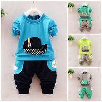 2pc Baby clothes Toddler kids boys pullover top&pants outfits tracksuit whale