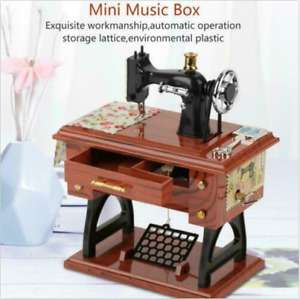 Vintage Music Box Mini Sewing Machine Style Birthday Gift Bedroom Table Decor