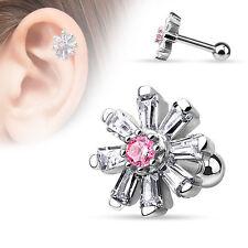 Cartilage Tragus Bar Princess Cut CZ Petal Flower with Pink CZ Center 316L Steel