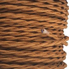 Textilkabel, Leitung Textilfaser umflochten, gedreht, whiskey, 2x0,75 H03VV