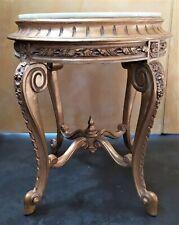 Petite Table '900 Style Ancien en Bois D'Or Et Top Granite Blanc - Italie Xx Sec