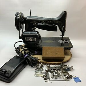 1950 Singer Sewing Machine 99K + Attachments *TESTED & WORKS*  - Great Britain