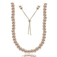 Rose Gold Tone Sterling Silver 6mm Beads Adjustable Necklace