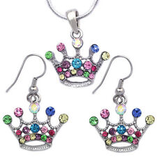 Princess Crown Colorful Tiara Pendant Necklace Hook Earrings Jewelry Set s2037h