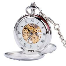 Simple Double Full Hunter Mechanical Pocket Watch for Women Men Steampunk Chain