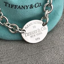 Please Return To Tiffany & Co. Silver Oval Tag Charm Bracelet