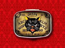 OUIJA BOARD CAT PSYCHIC GAME VINTAGE HALLOWEEN STASH BOX METAL PILL MINT CASE