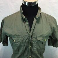 Woolrich Light Olive Button Front Casual Short Sleeve Shirt Medium P12