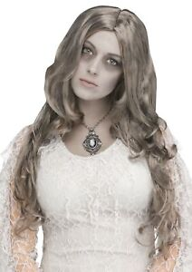 Silver Lady Long Character Wig Grey Zombie Adult Halloween Costume Accessory