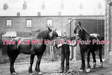 CH 431 - Man & Horses, Kingsley, Frodsham, Cheshire c1916 - 6x4 Photo