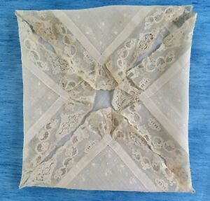 A VICTORIAN EMBROIDERED HANDKERCHIEF WITH 18th CENTURY MECHLIN LACE EDGING