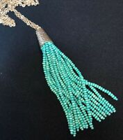Vintage Turquoise Blue Bohemian Long Tassel Wooden Beaded Necklace