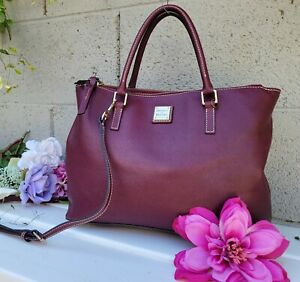 Dooney & Bourke Saffiano Leather Willa Satchel burgundy purse satchel shoulder