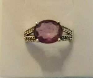 Sterling Silver amethyst & diamond ring size R/S