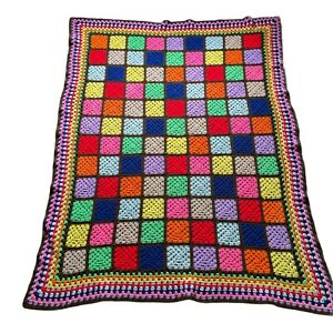 "Crochet Granny Square Blanket Afghan Throw Boho Hippie Handmade 55"" x 70"""