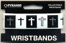 Crosses Rubber Wristband Black/White Carded One Size