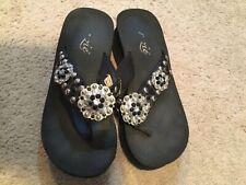 Grazie By Volatile Farout Women/'s Sequined EVA Crisscross Slide Wedge Sandals