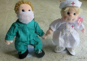 """Custom Dressed Ty Beanie Kid Dolls As A Doctor & Nurse 9"""" High Boomer & Angel"""