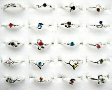 Fashion 20pcs Wholesale Jewelry Mixed Lots Silver Plated Rhinestone Rings