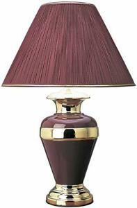 "Traditional Burgundy Urn-shaped Ceramic and Aluminum Base Table Desk Lamp 28""H"