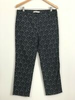 SPORTSCRAFT Womens Black White Floral Mid Rise Straight Cropped Pants Size 10