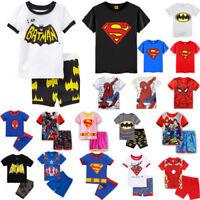 Kids Boys Girls Superhero Clothes T-shirt Shorts Set Outfits Pajamas Nightwear