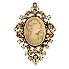 Large Brooch Pin Cameo Gem Antique Look Tendril Cameo Rhinestone Vintage