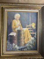 """Oriela Tomai """"Elderly Woman Churning Butter Scene"""" Oil Painting - Signed/Framed"""