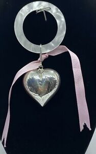 Estate Plastic & Sterling Silver Puffy Heart Baby Teether