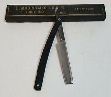 "5/8"" Bowdins Wedge Celluliod Straight Edge Razor Handmade Coffin Box Excellent"