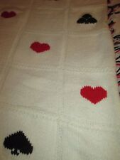 """Handmade Crochet Throw Afghan CARDS 55"""" x 63"""" HEARTS SPADES DIAMONDS CLUBS  RARE"""