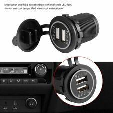 4.2A DC 12V/24V LED Dual USB Charger Power Outlet for Car Boat Motorcycles GR