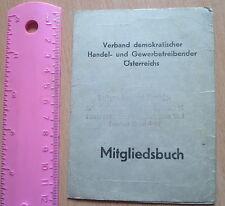 WWII 1945 Austria ID Card Member WORK trade Document tax stamp MITGLIEDSBUCH WK2
