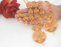South Indian Temple Jewelry Long Haram Necklace Set Red Gold Tone Matt Finsih S7